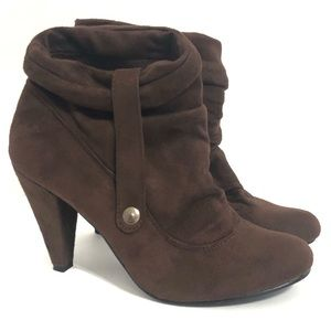 Forever 21 Brown Faux Suede Slouchy Heeled Booties
